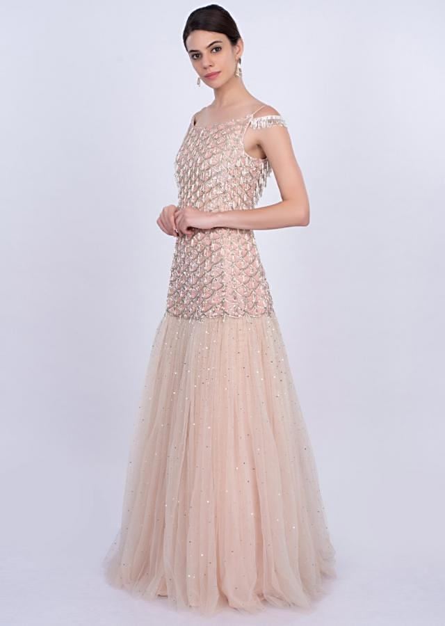 Powder pink scallop embroidered fish cut gown with strap and cold shoulder sleeves only on Kalki