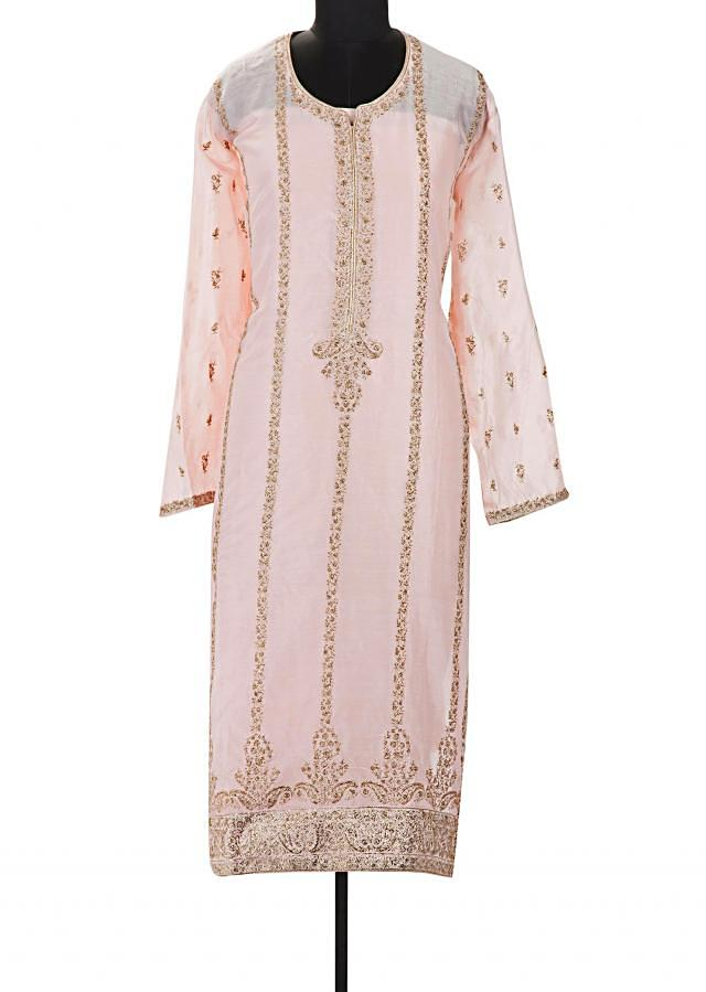 Powder pink semi stitched suit in paisley motif in zari only on Kalki