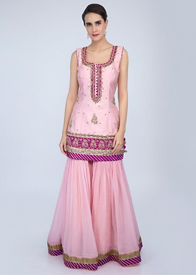 Powder pink sharara suit set in embroidery and butti only on Kalki