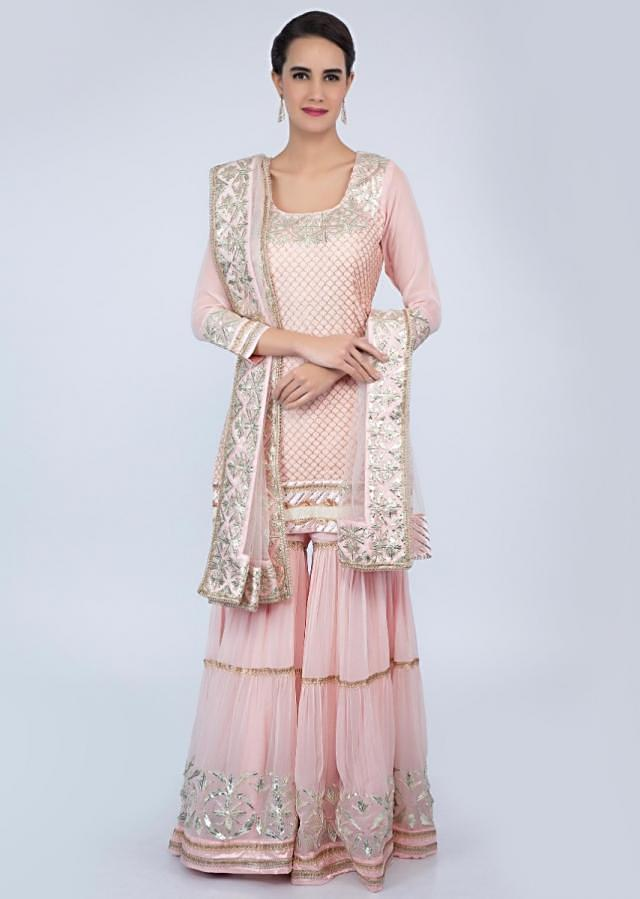 Powder pink sharara suit set with lace embroidery and butti only on Kalki