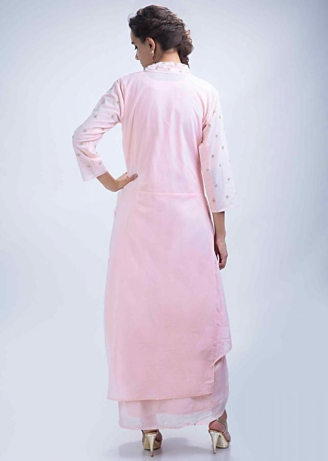 Powder Pink Straight Collar Tunic Dress With Embroidered Waist Online - Kalki Fashion
