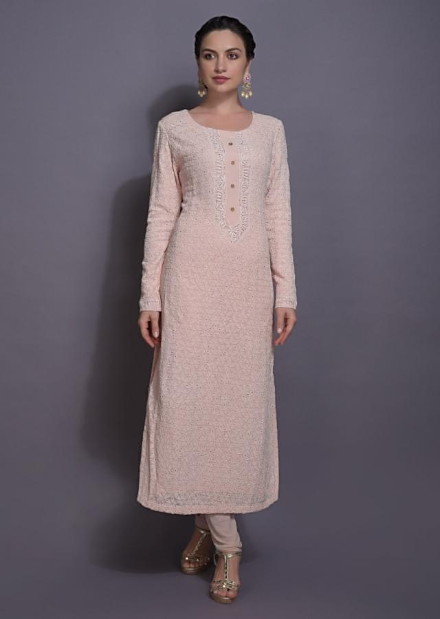 Powder Pink Straight Cut Suit With Lucknowi And Badla Work Online - Kalki Fashion