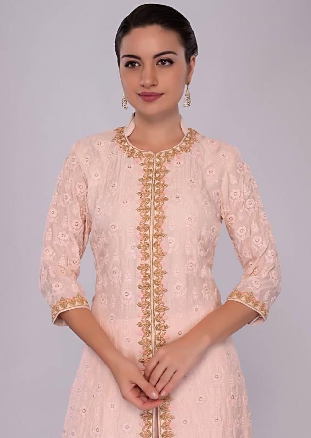 Powder Pink Suit With Front And Side Slit With Matching Skirt And Chiffon Dupatta Online - Kalki Fashion