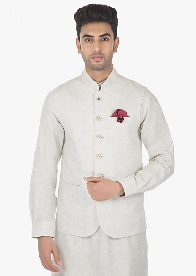 Powder white Linen Pant, Shirt and a fancy Fabric Silk Vest Coat Only on Kalki
