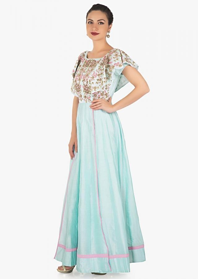 Powder blue anarkali dress with embroidered bodice and fancy sleeve only on Kalki