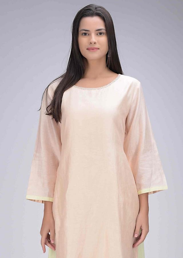 Powder Peach Kurta Dress In Cotton With Lime Green Under Layer Online - Kalki Fashion