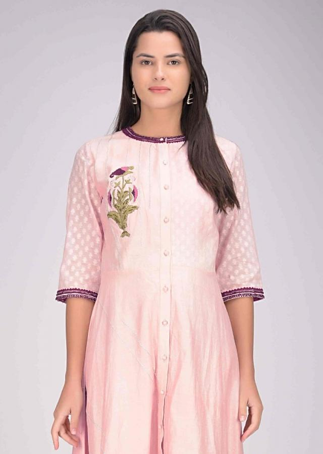 Powder Pink High Low Kurti In Cotton Silk Online - Kalki Fashion