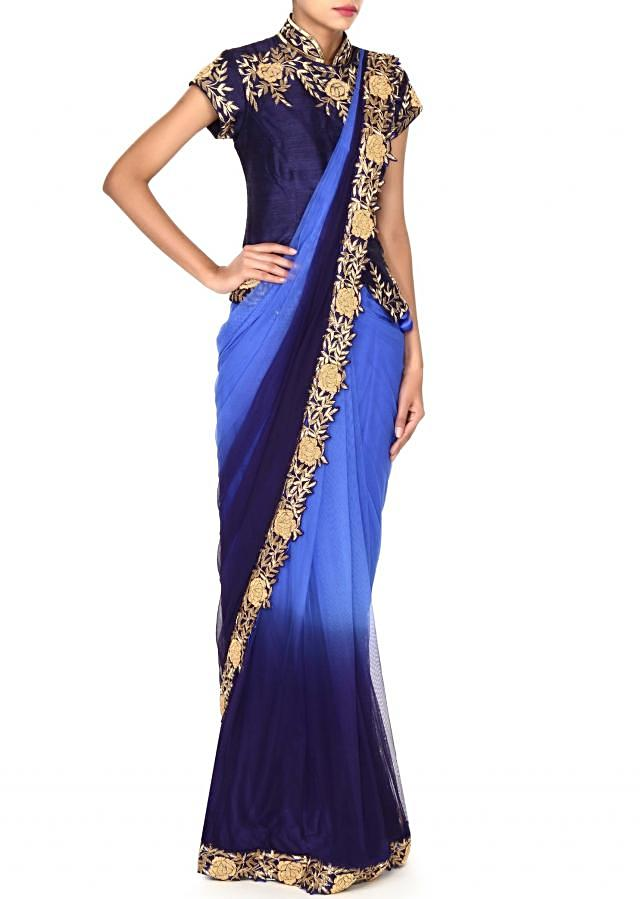 Pre stitched shaded saree in kardana border only on Kalki