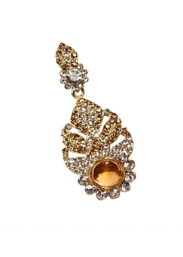 Premium Gold Plating Earring With Red Crystals