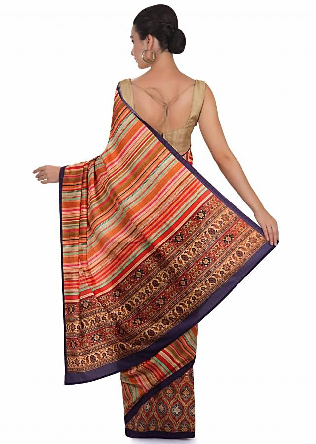 Printed multi-colored silk saree only at Kalki only on Kalki