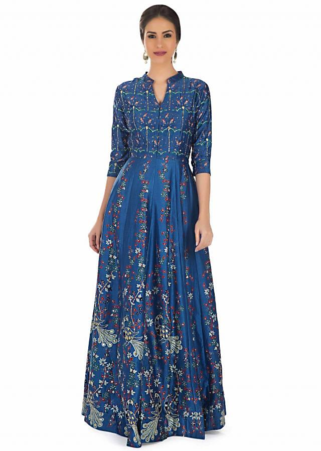 Printed Blue Cotton Silk Dress Embellished with Gotta Patch Work and Sequins only on Kalki