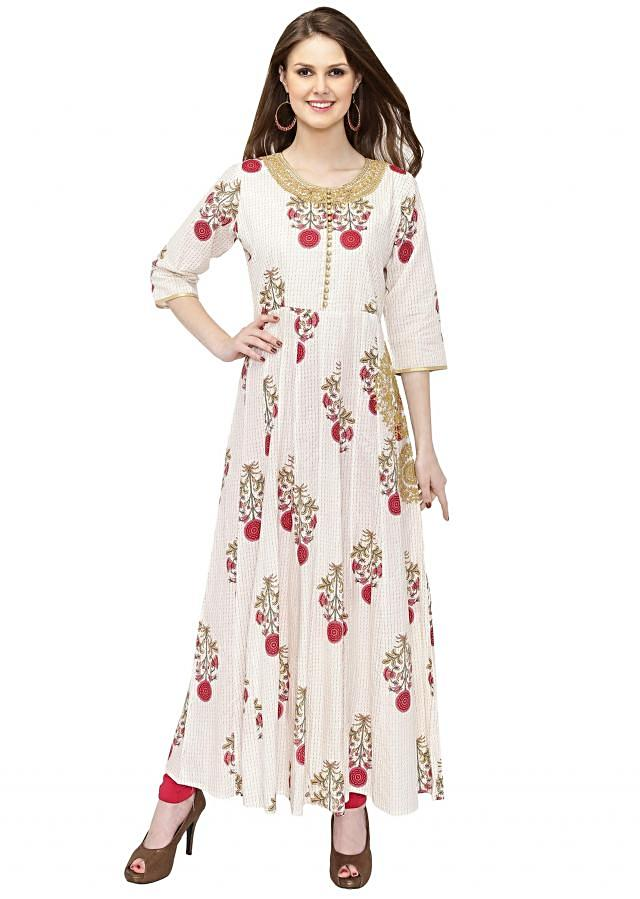 Printed Cream Georgette Anarkali Dress Styled with Zari Butti only on Kalki