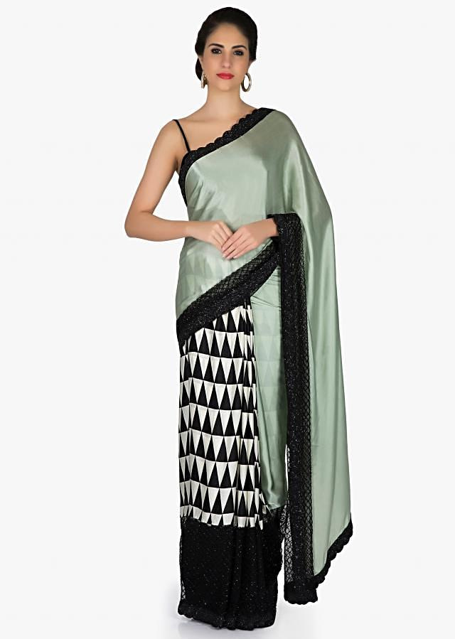 Printed Grey Green, Black and White Satin Saree with Cut Dana and Beads only on Kalki