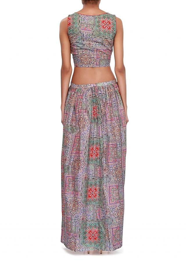 Printed multi color crop top and skirt only on Kalki