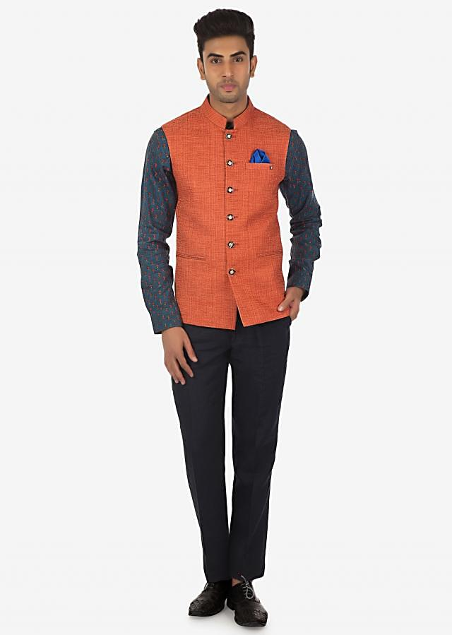 Printed Shirt, Solid Pants and Solid Vest Coat Set Only on Kalki