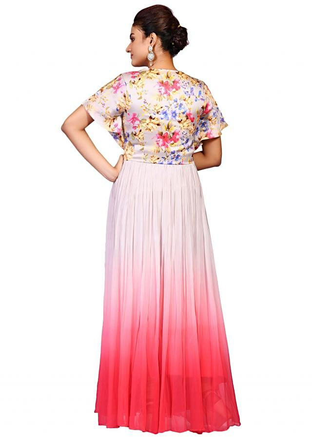 Printed yoke gown in satin displaying the floral print with pink and grey hues only on Kalki