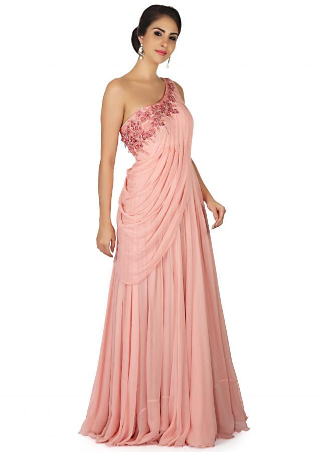 Prism pink gown with resham embroidered neckline and cowl drape only on Kalki