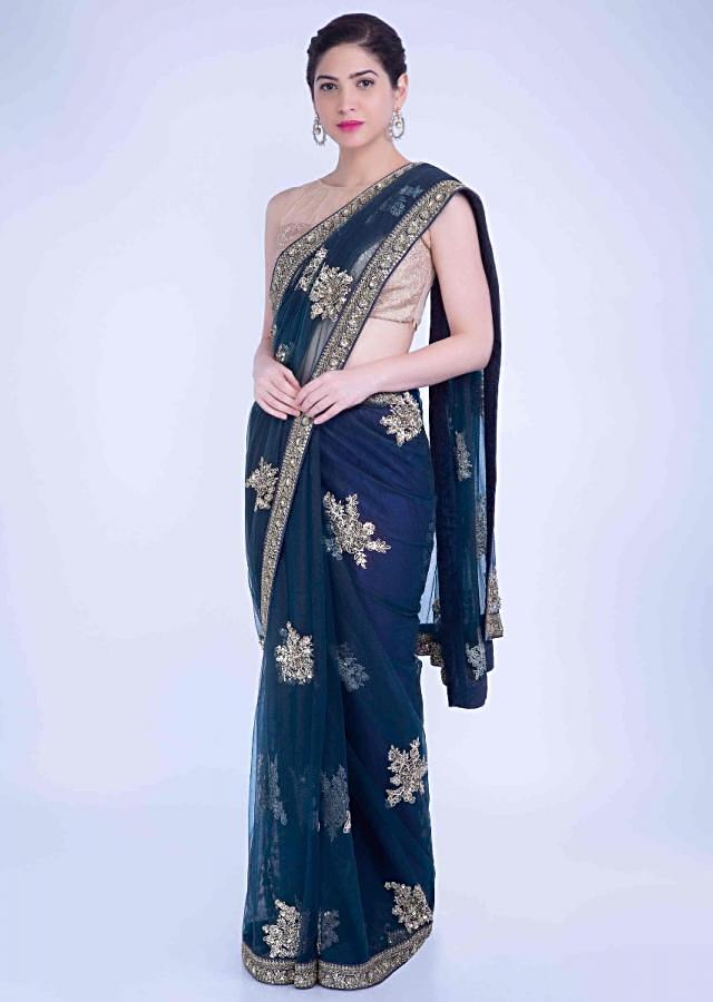Prussian Blue Saree In Net With Matching Blouse Piece Online - Kalki Fashion