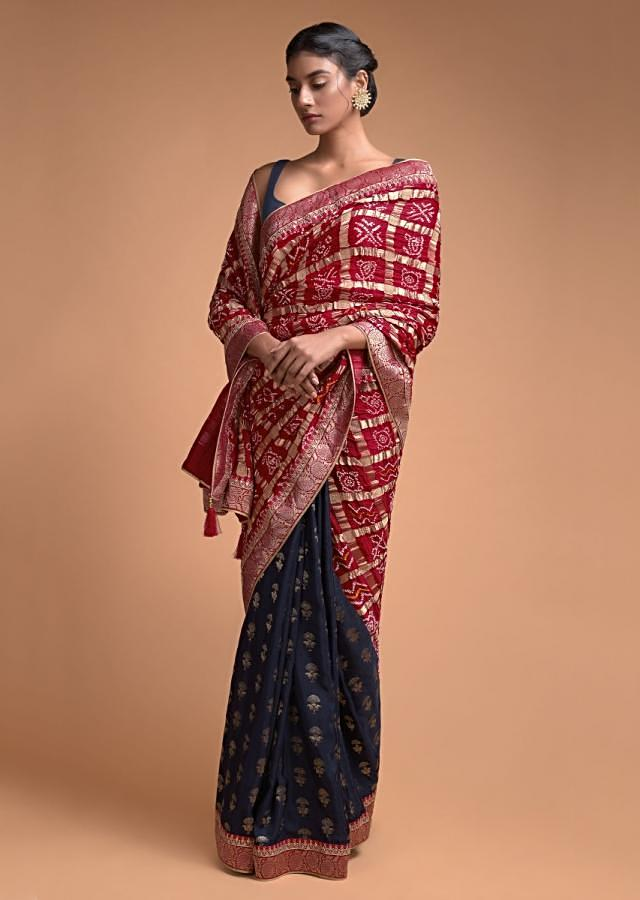 Navy Blue And Red Half And Half Saree In Silk With Bandhani Print And Weaved Floral Buttis Online - Kalki Fashion