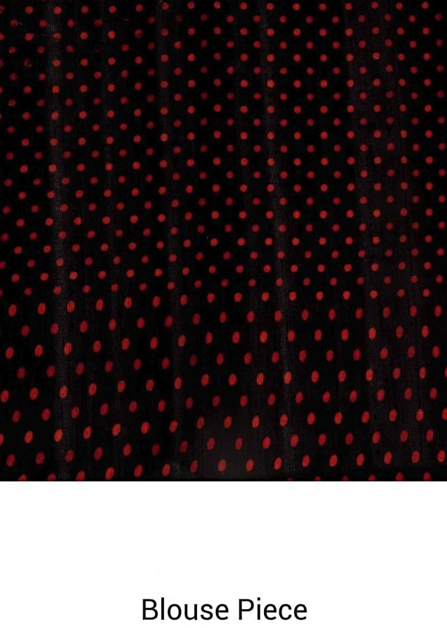 Pitch black saree with ikkat butti printed border only on Kalki
