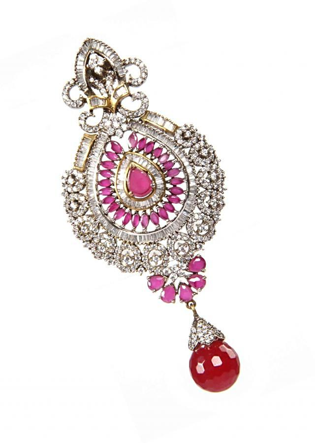 Earrings With Combination Of Hand Cut Ruby And Emerald Onyx Stones