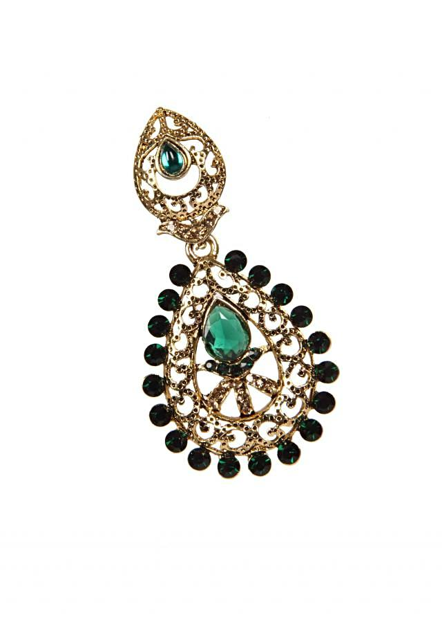 Premium Gold Plating earring With Green Crystals