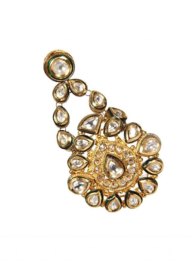 Antique Kundan Earrings Studded With Premium Zircons