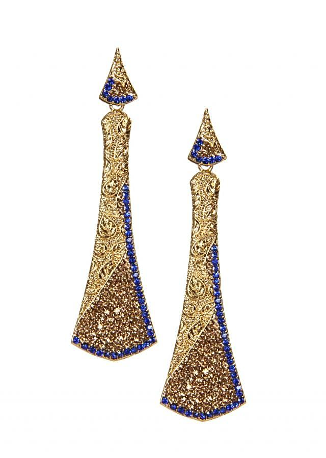 Blue and Champagne Crystals Earring
