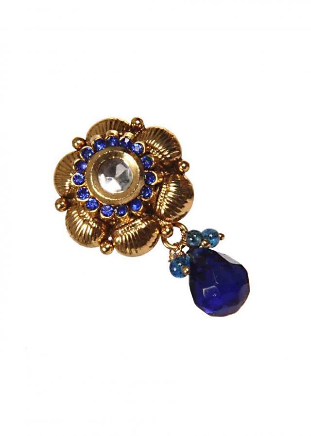 Antique Designer Earrings With Blue Pearl Drop