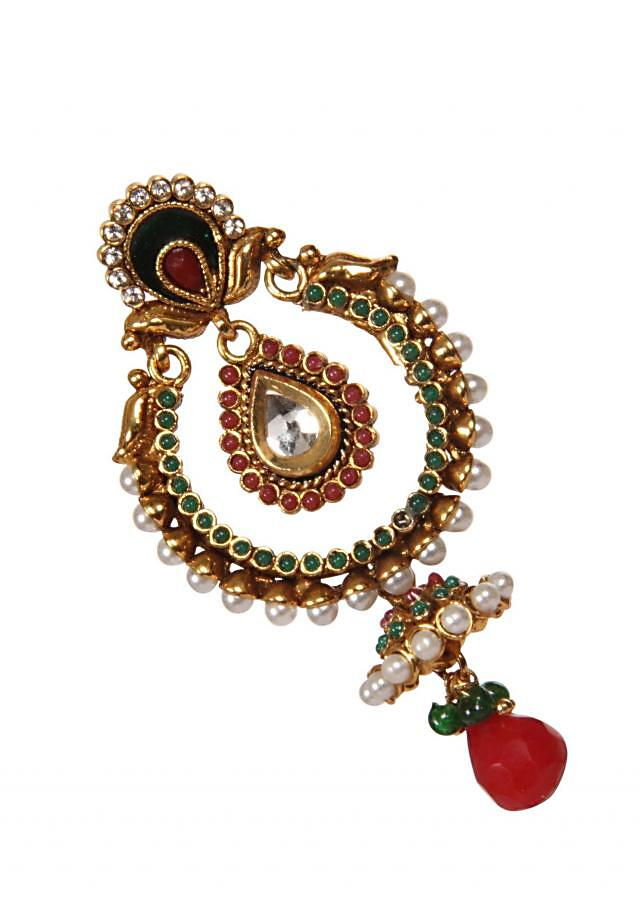 Red And Gold Studded Earring