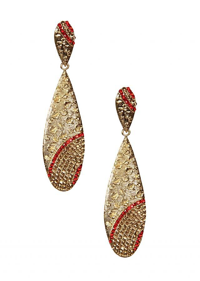 Champagne And Red Crystal Earring