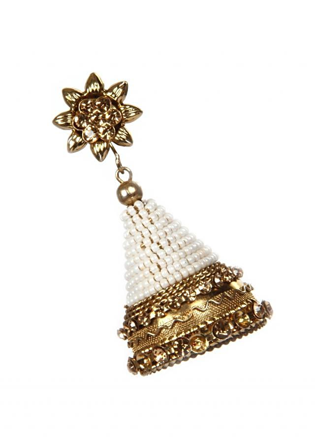 Gold Plated Jhumki With Pearls And Crystals