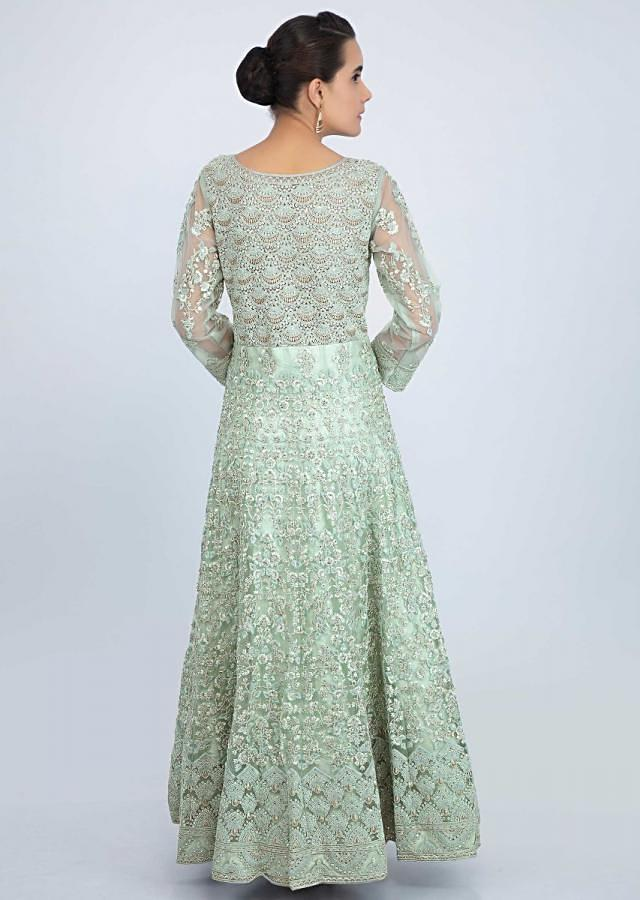 Sea Green Anarkali Suit In Embroidered Net With Front Slit Online - Kalki Fashion