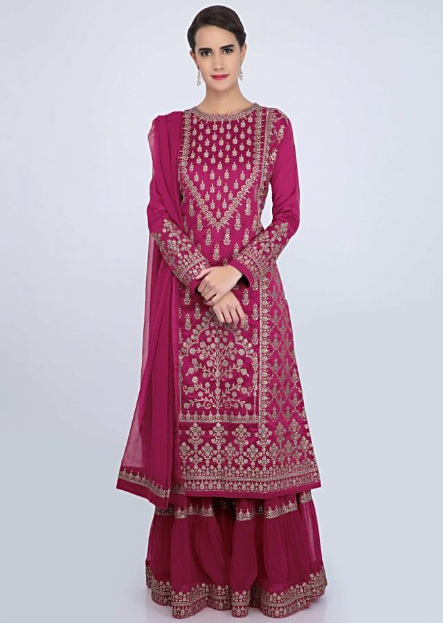 Fuchsia Pink Sharara Suit Set With Embroidery And Butti Online - Kalki Fashion
