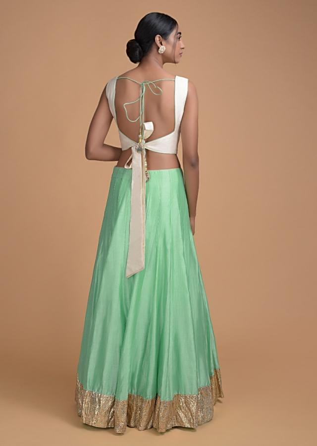 Light Green Lehenga And Cream Blouse in Silk with Resham Embroidery Online - Kalki Fashion