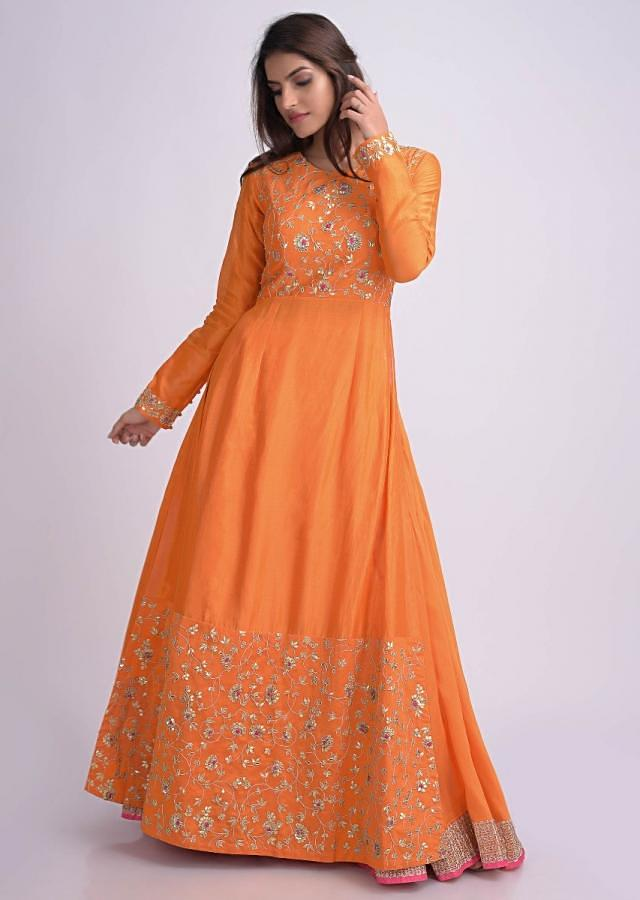 Pumpkin Orange Suit With Skirt Bottoms And Gotta Patch Embroidery Online - Kalki Fashion