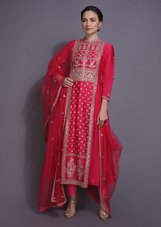 Punch Pink A Line Suit With Gotta Embroidery In Floral Pattern Online - Kalki Fashion