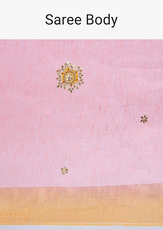 Punch pink linen saree with gotta embroidery and butti only on Kalki