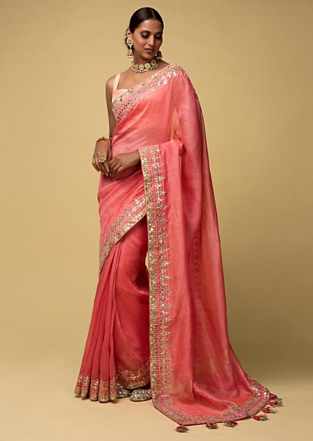 Punch Pink Saree In Kota Silk With Gotta Patches, Zardozi And Pearls In Leaf Pattern On The Border Online - Kalki Fashion