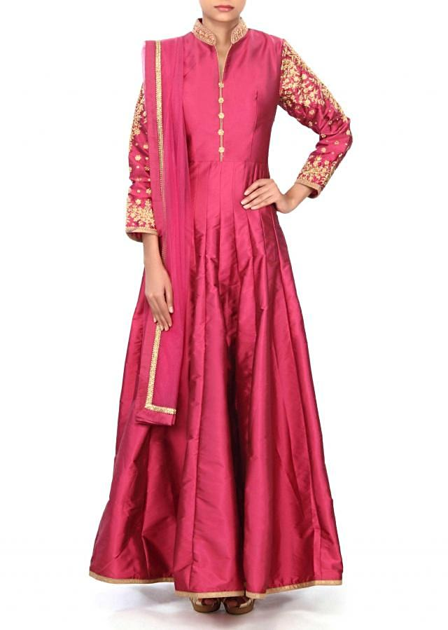 Dark magenta anarkali suit adorn in collar and sleeve embroidery only on Kalki