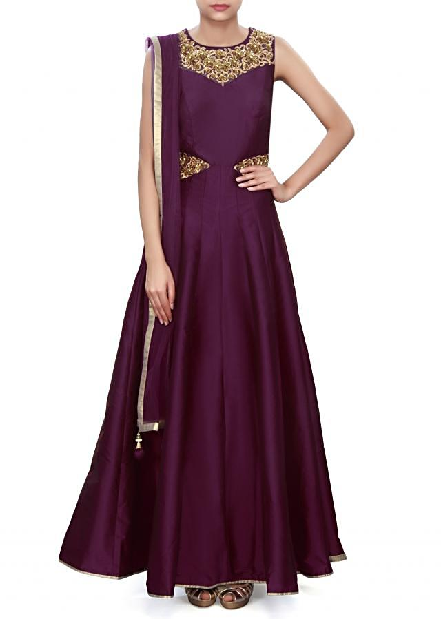 Purple anarkali suit adorn in embroidered neckline only on Kalki