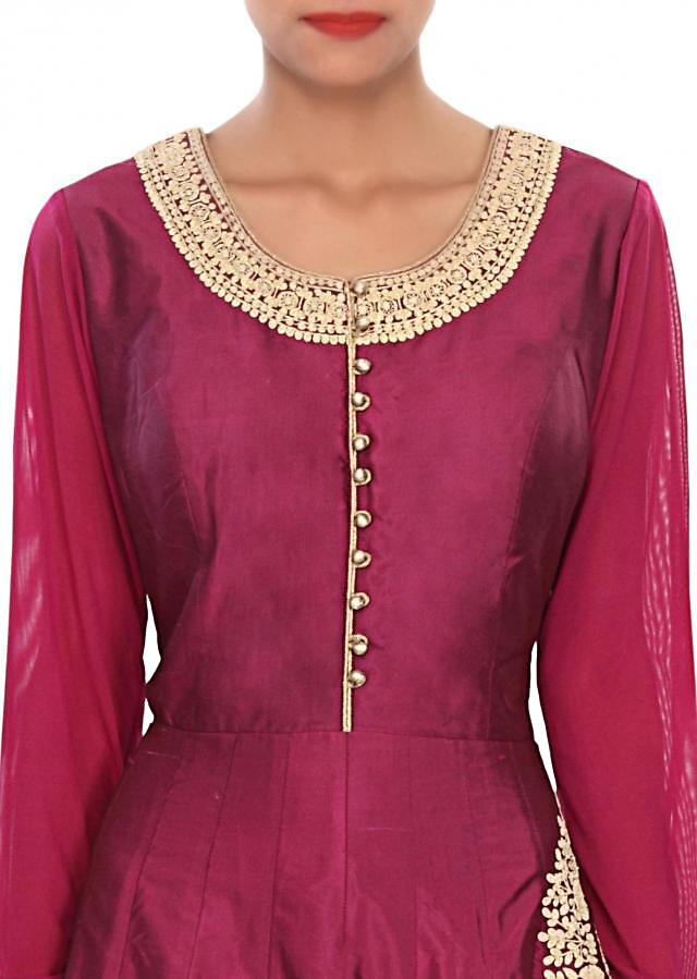 Purple anarkali suit embellished in thread embroidery only on Kalki