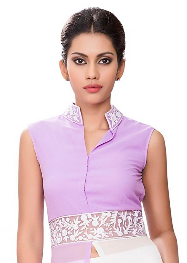 Purple and white half and half tunic with white embroidery