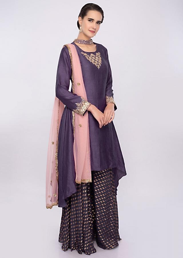 Purple asymmetric suit with weaved palazzo only on Kalki
