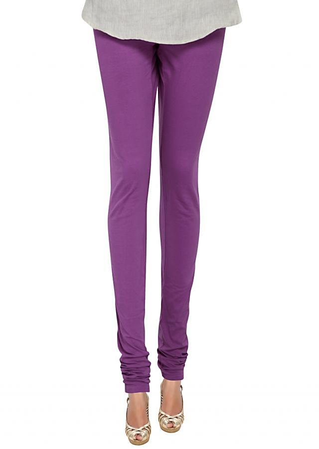 Purple cotton hosiery legging only on Kalki