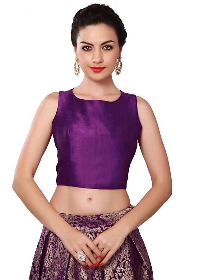 Purple crop top and skirt featuring in brocade only on Kalki