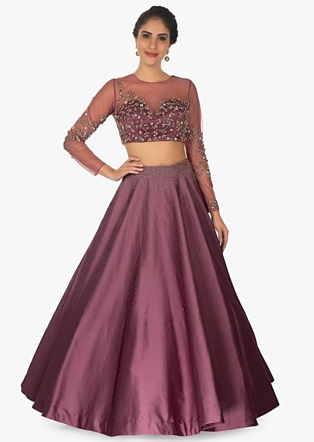 Purple Crop Top Paired With Valintino Satin Skirt Along With Net Ruffle Dupatta Online - Kalki Fashion
