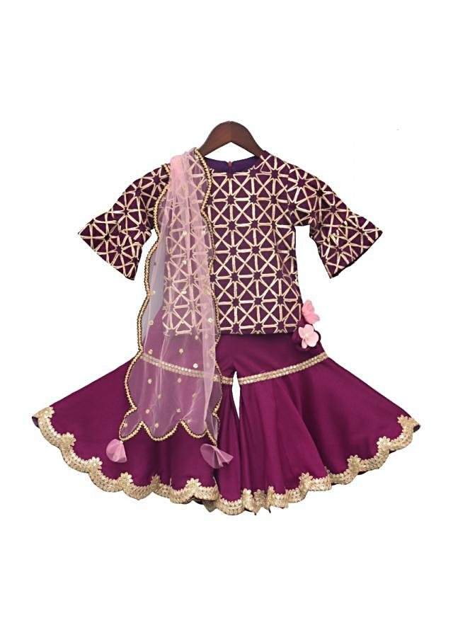 Purple Kurti With Gotta Embroidery And Sharara And Net Dupatta Online - Kalki Fashion