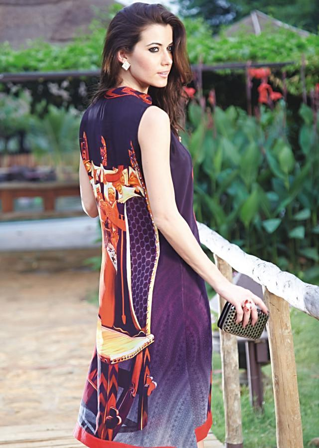 Purple kurti embellished in stone button
