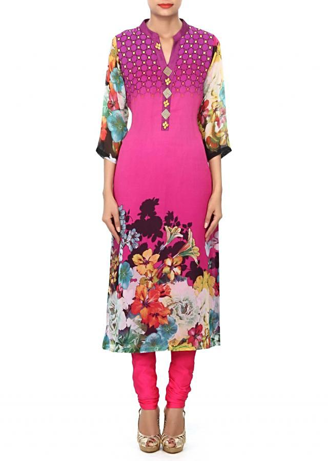 Purple kurti enhanced in print and fancy placket only on Kalki